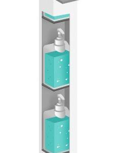 Borne distributrice de gel avec stockage pour bidons