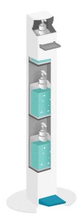 Borne distributrice de gel avec espace de stockage